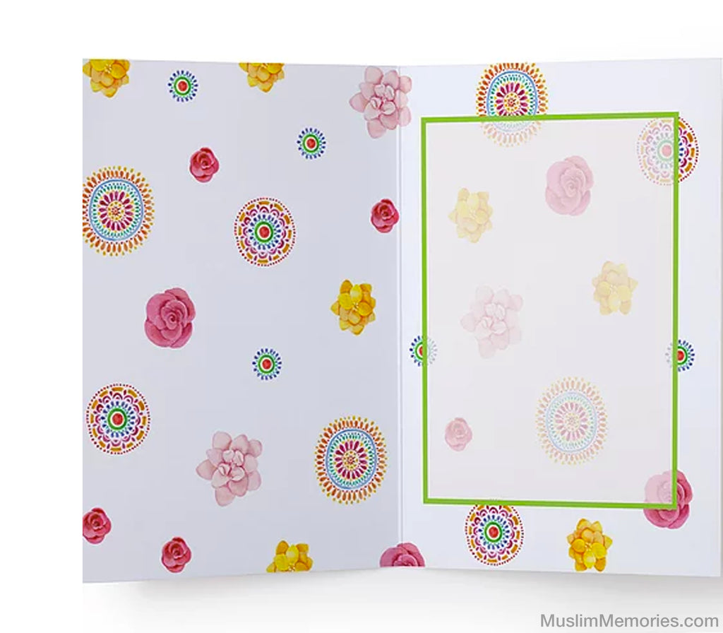 Eid Pink Flowers Card - Muslim Memories