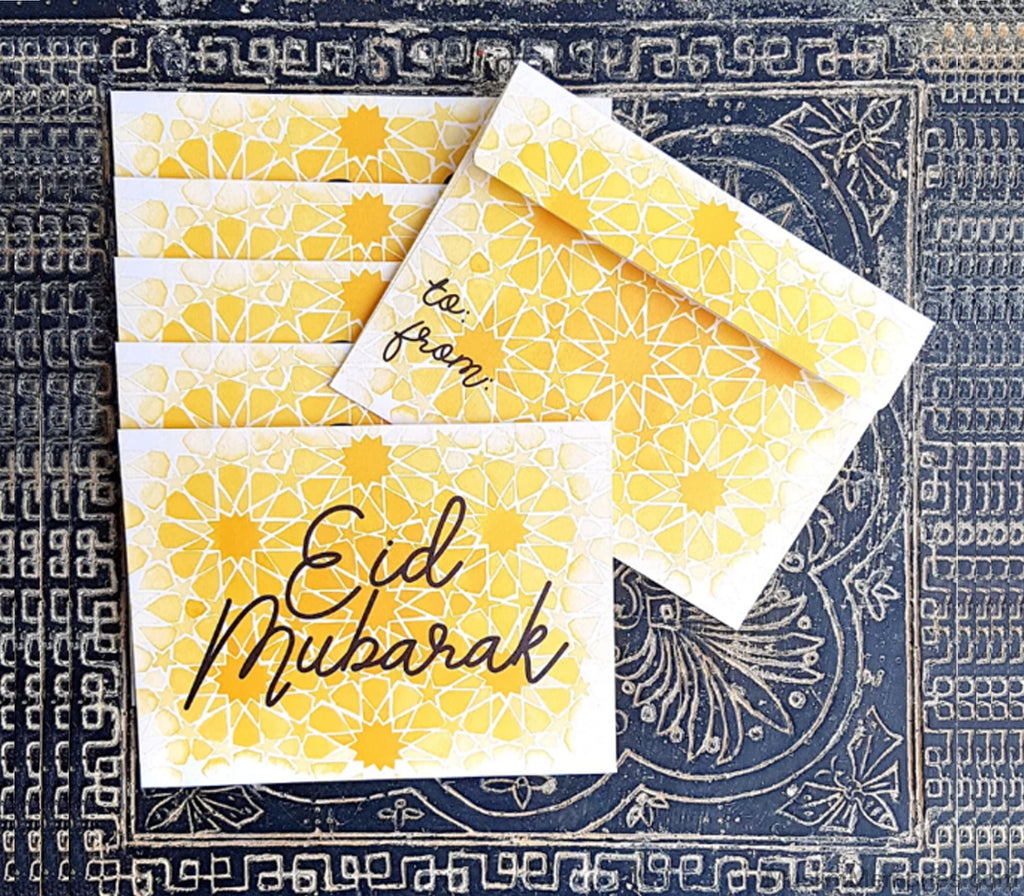Yellow Pattern Eidi Envelopes - Muslim Memories