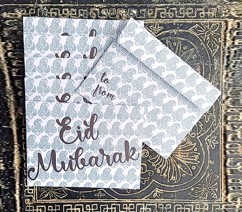 Blue Blockprint Eidi Envelopes - Muslim Memories