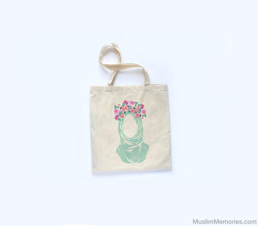 Flower Hijab Tote Bag - Muslim Memories