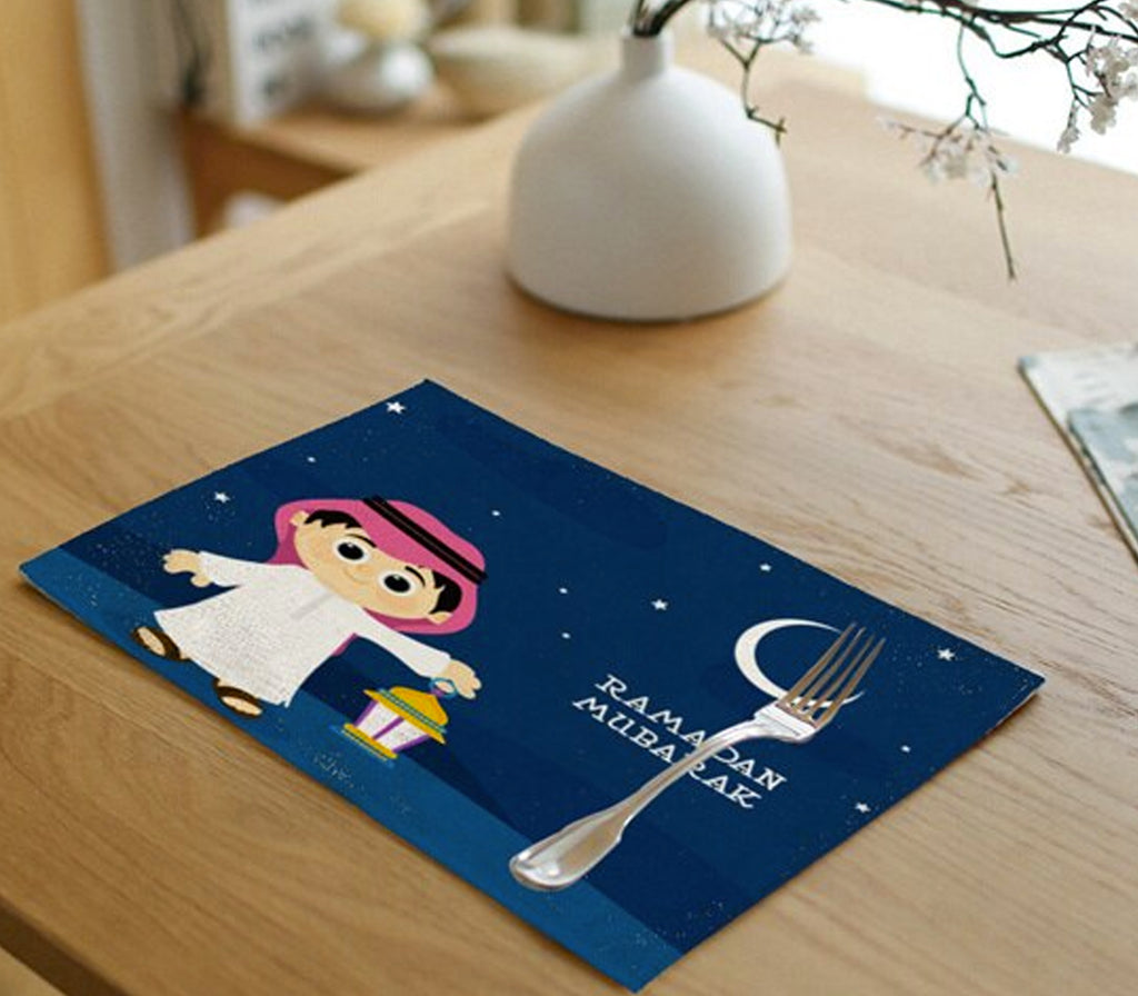 Ramadan Mubarak Little Boy & Moon Linen Mat - Muslim Memories