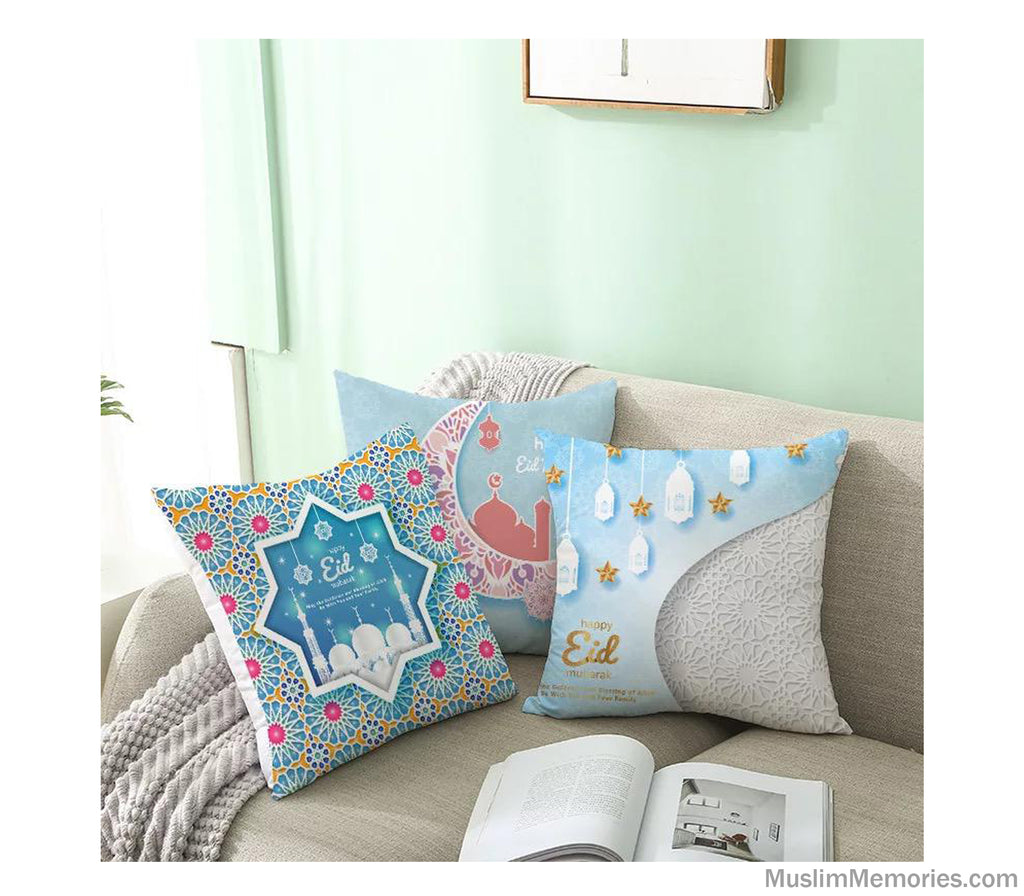 Baby Blue Arabesque Happy Eid Mubarak Pillow Case