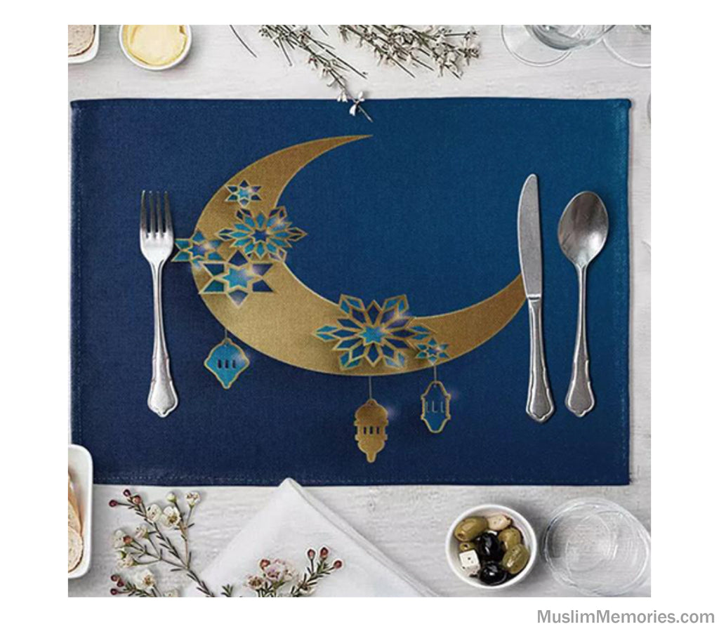 Blue Moon Geometric Linen Mat