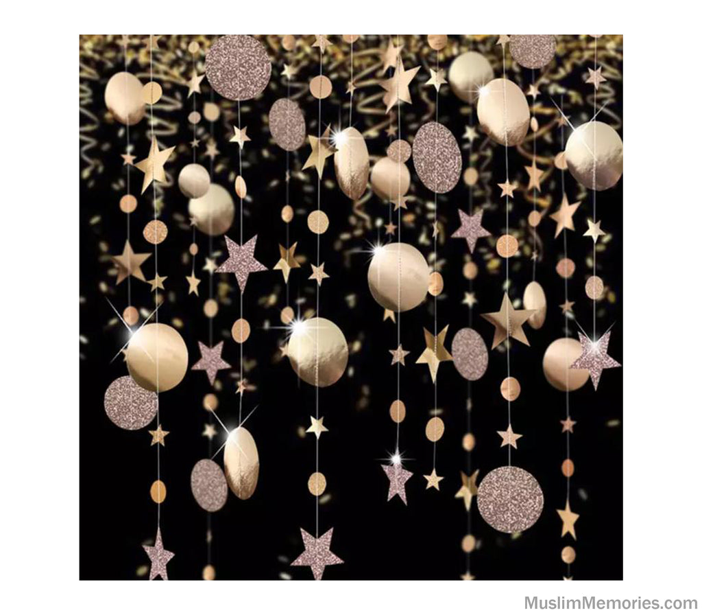 Round Glitter and Star Hanging Garland (Multiple Colors)