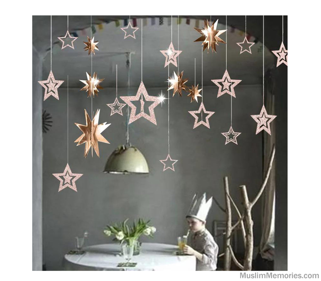 Glitter Hanging Star Garland (Multiple Colors)