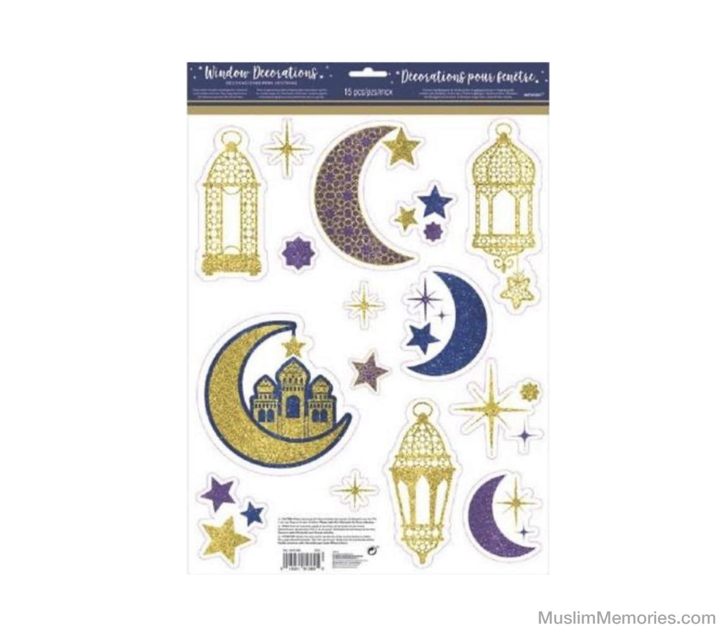 Glitter Crescent Moon & Mosque Eid Cling Decals 15ct