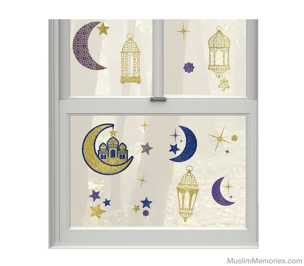Glitter Crescent Moon & Mosque Eid Cling Decals 15ct - Muslim Memories