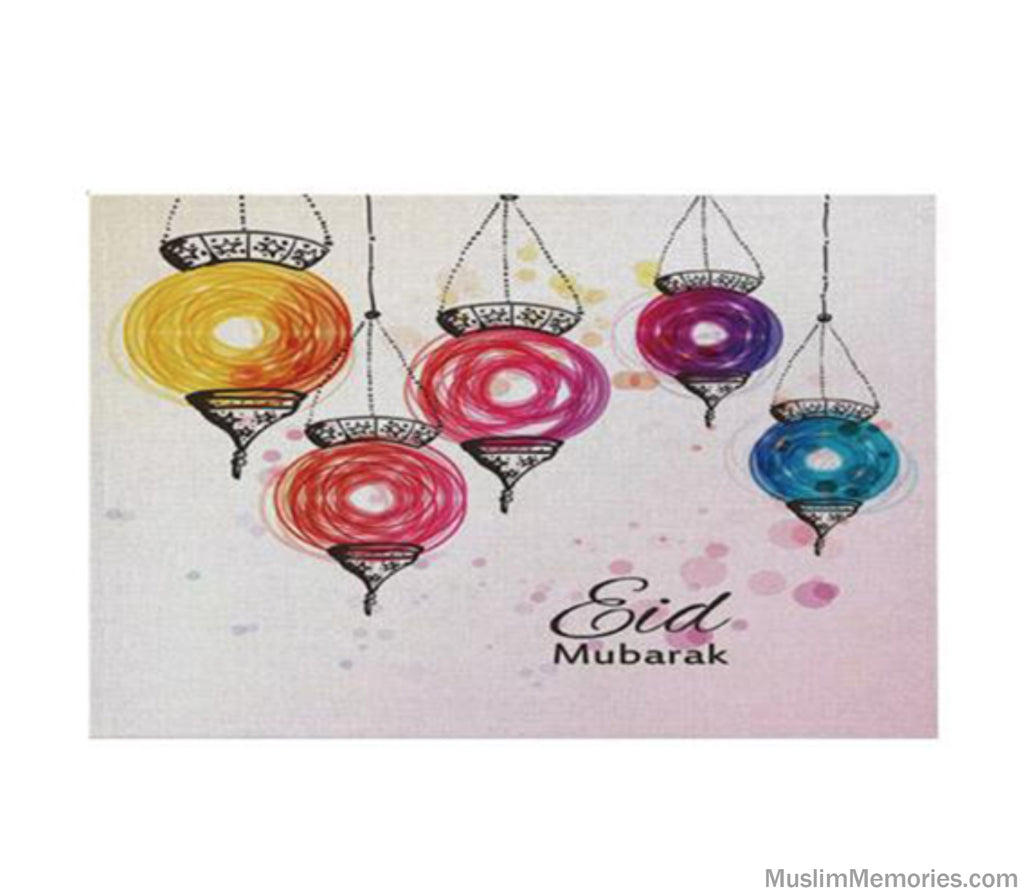 Colorful Lanterns Eid Mubarak Linen Mat