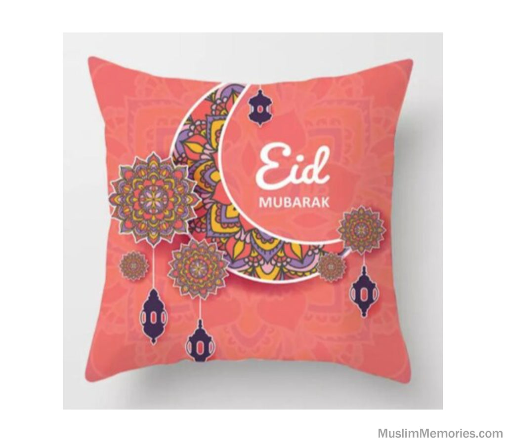 Coral Eid Mubarak Moon Pillow Case