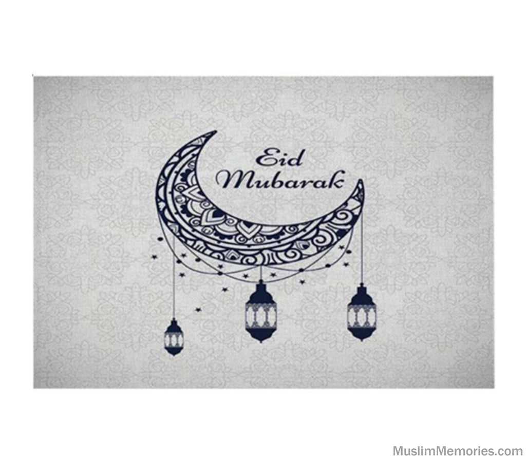 Eid Mubarak Moon and Lantern Linen Mat