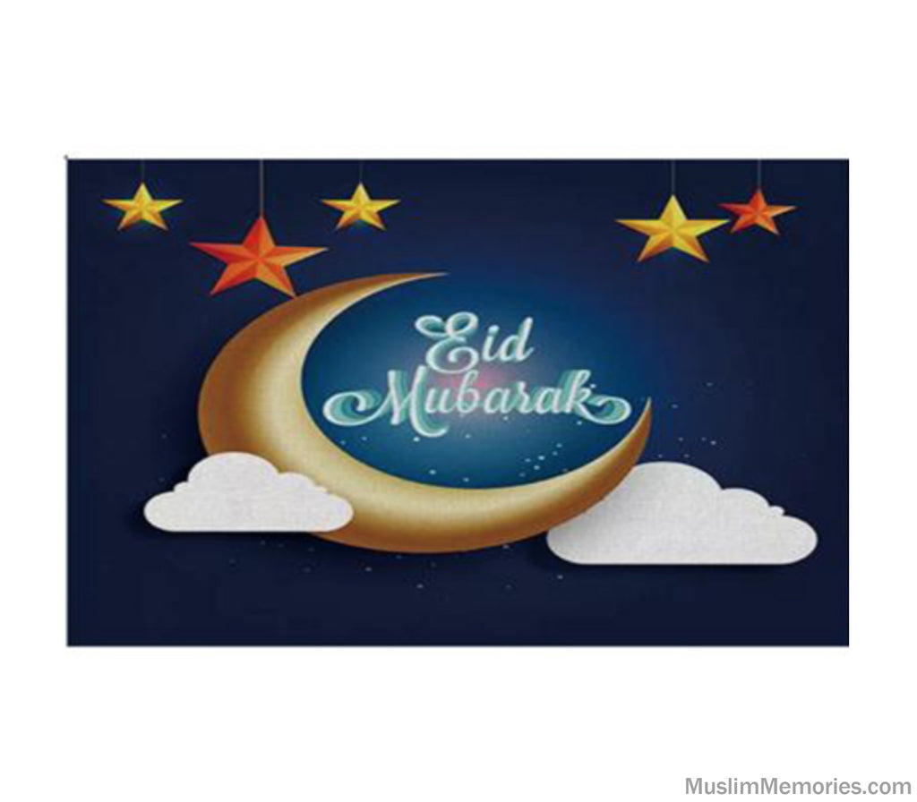 Eid Mubarak Moon Star and Cloud Linen Mat