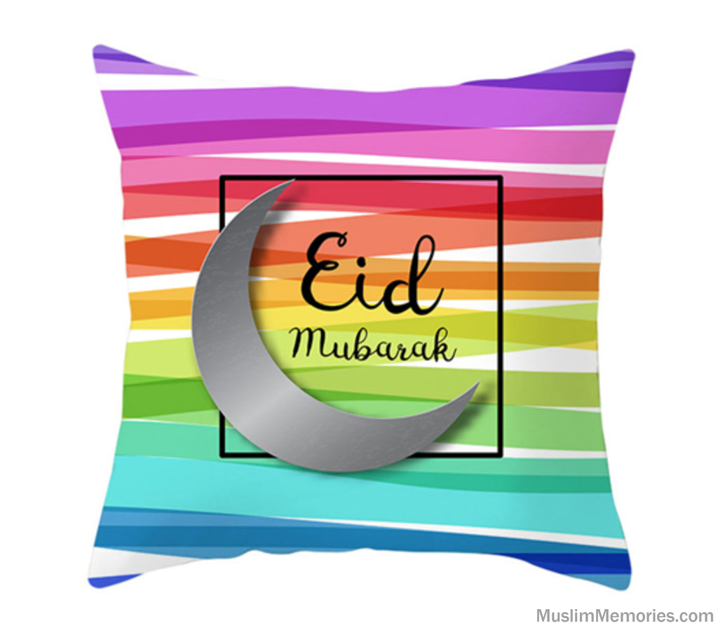 Multicolor Eid Mubarak Pillow Case