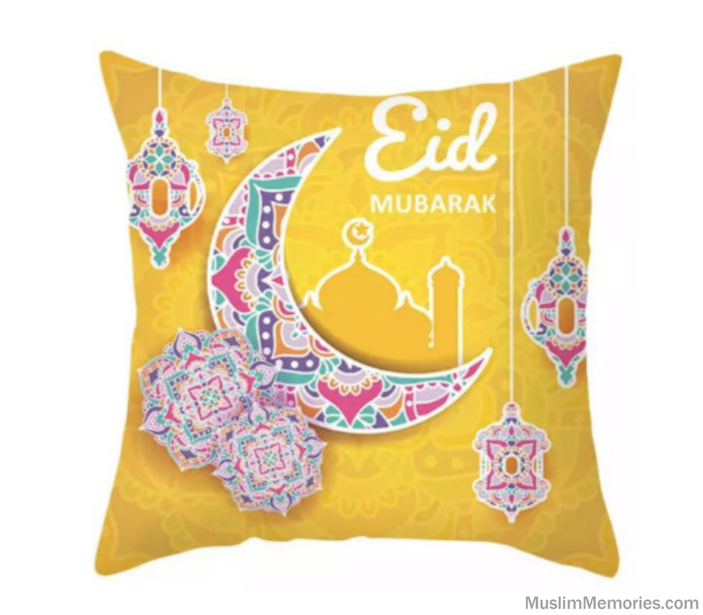 Yellow Eid Mubarak Pillow Case