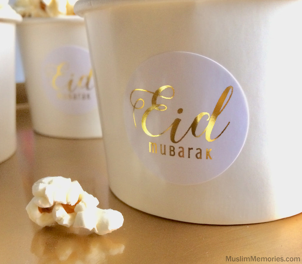 Eid Mubarak Sticker White w/ Foil- 20 pieces (Multiple Colors)