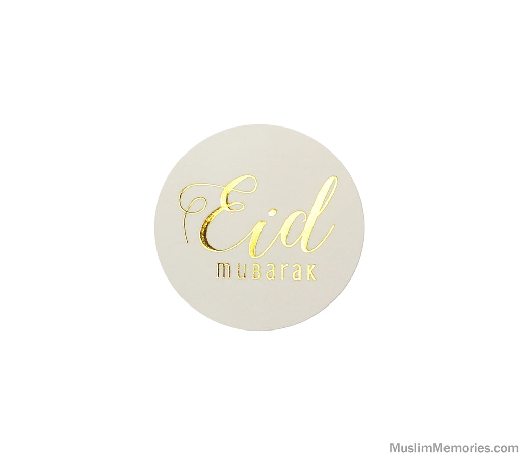 Large Eid Mubarak Sticker White w/Gold Foil- 12 pieces