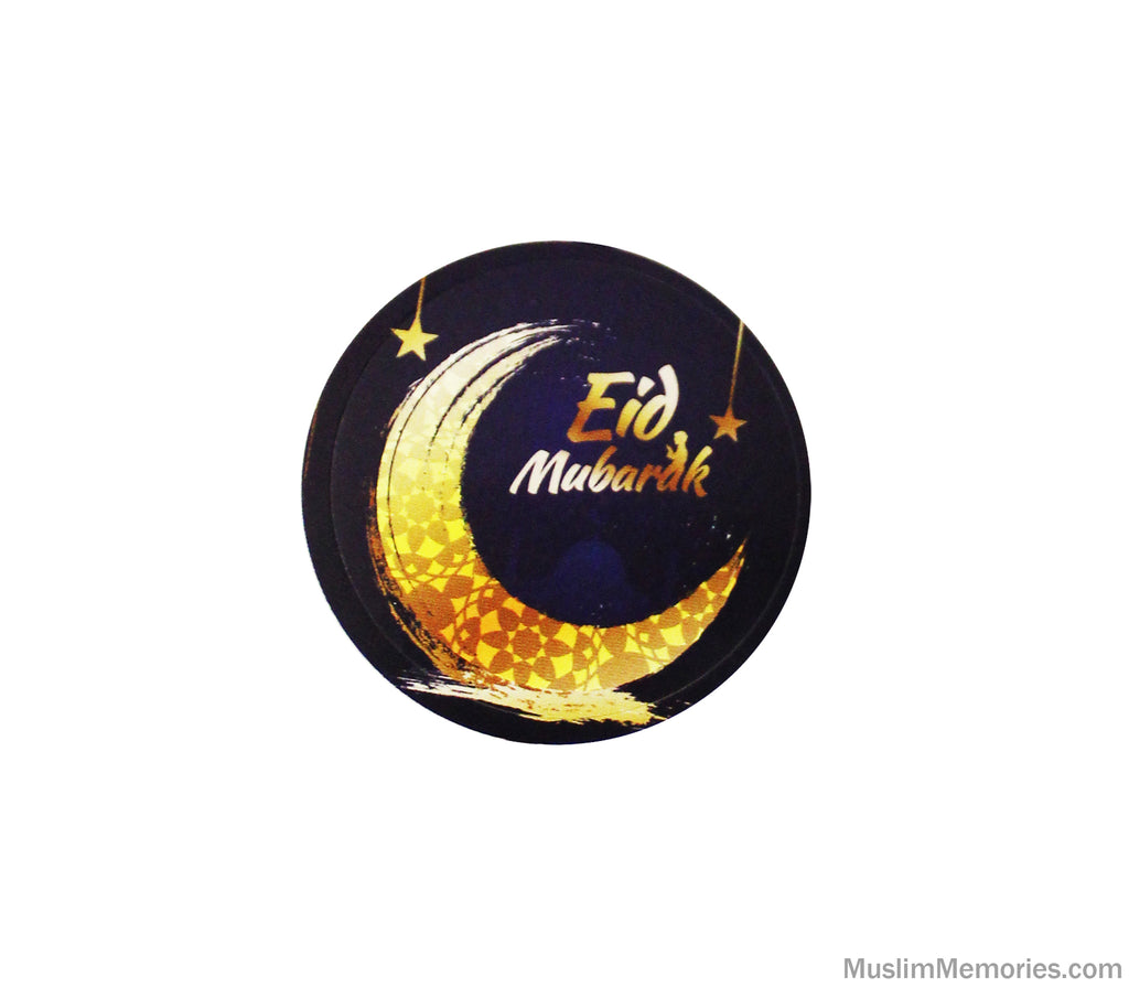 Golden Crescent Eid Mubarak Sticker- 24 stickers