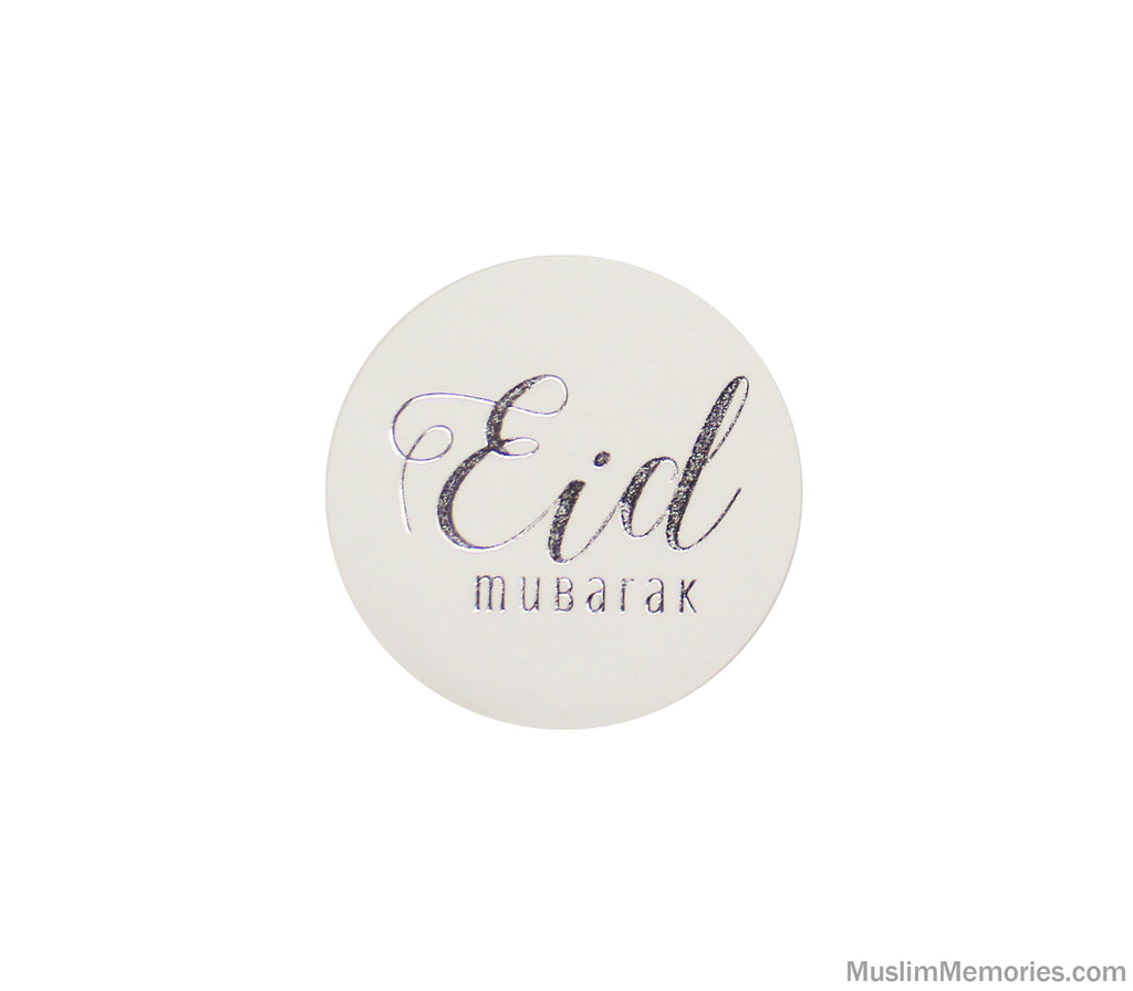 Large Eid Mubarak Sticker White w/Silver Foil- 12 pieces