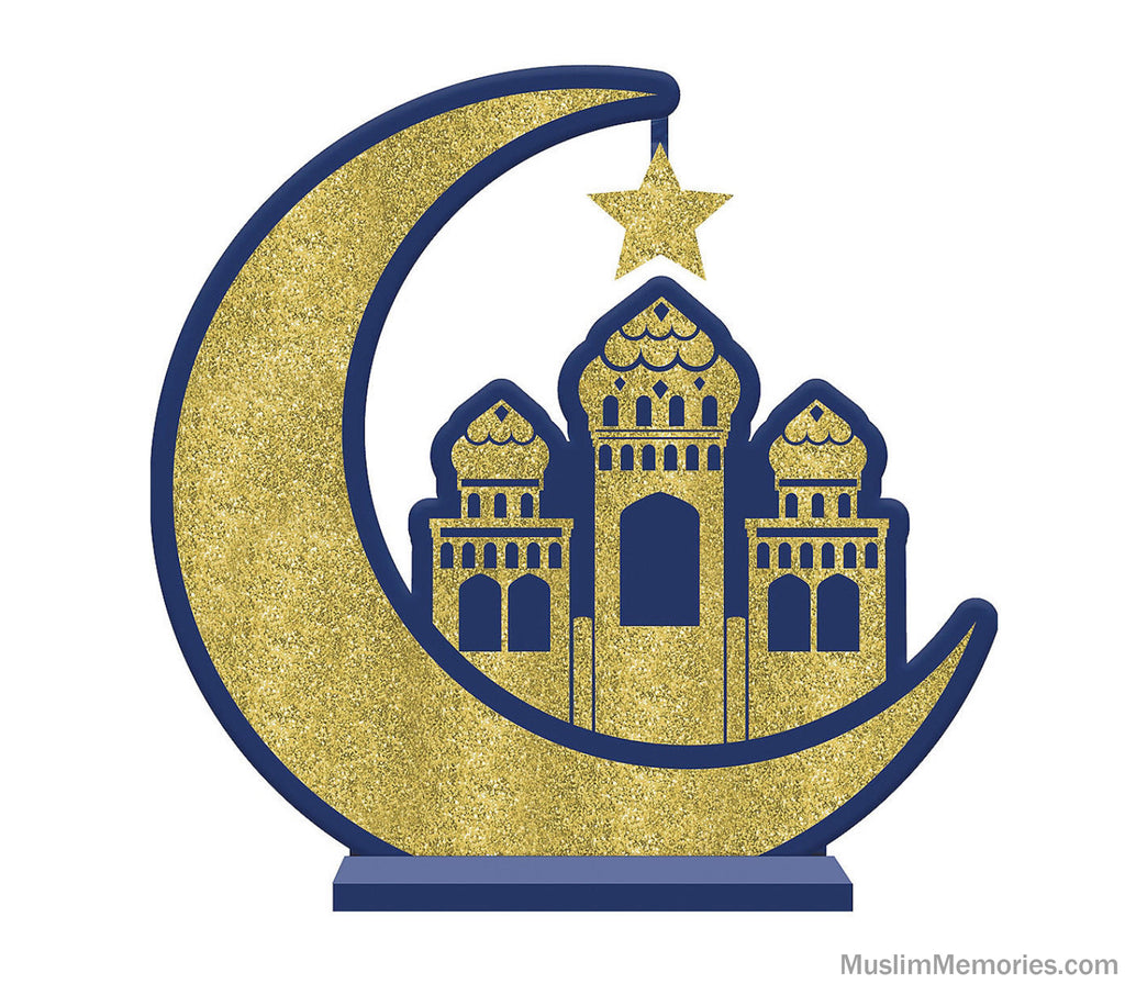 Glitter Crescent Moon & Mosque Eid Table Sign