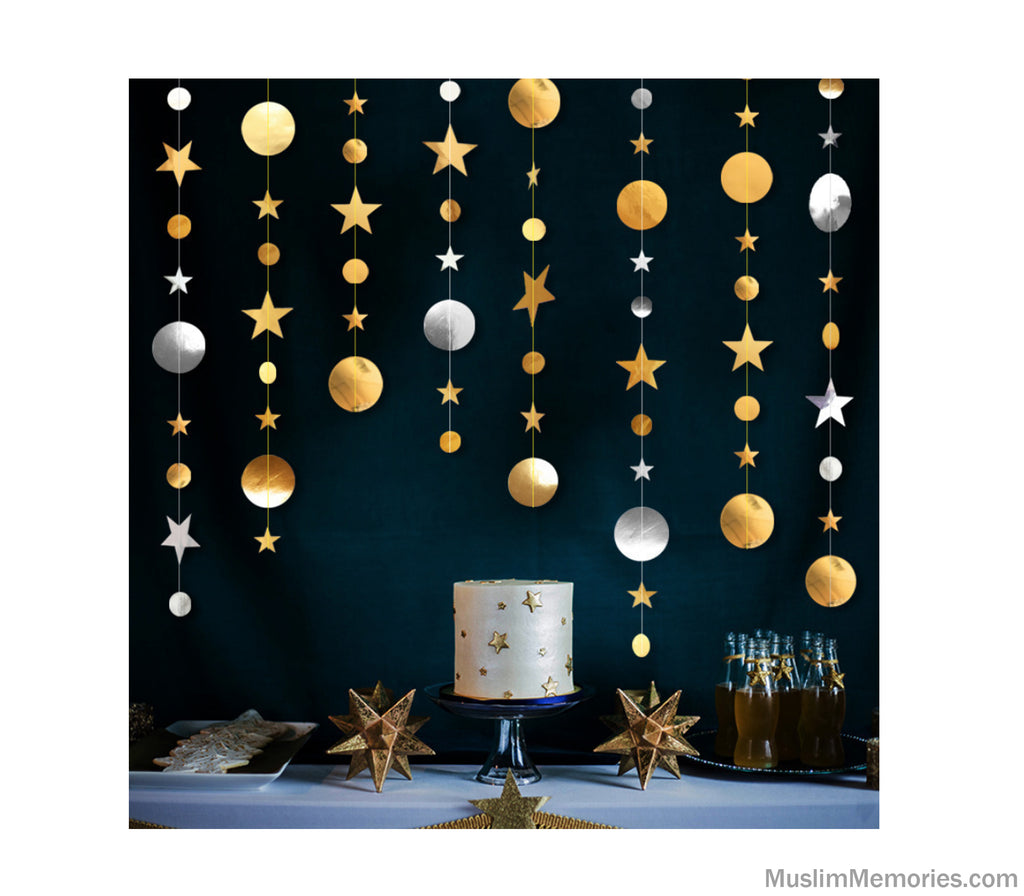 Gold & Silver Circle and Star Hanging Garland