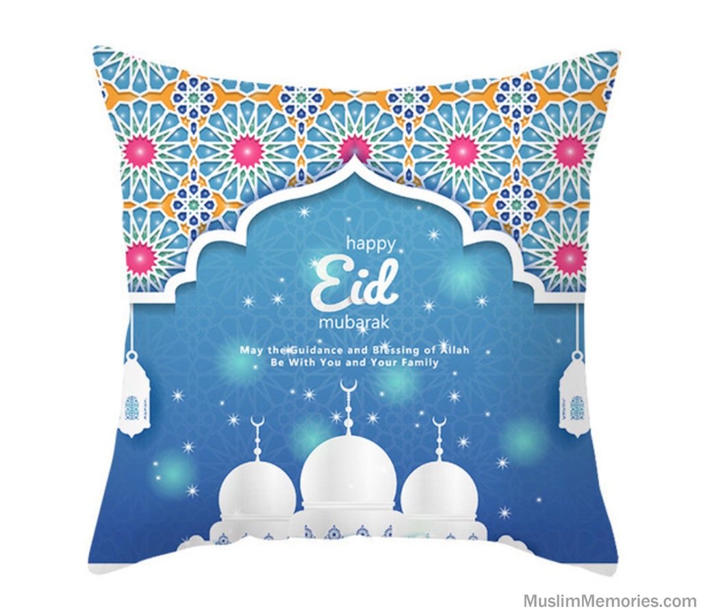 Blue Arabesque Happy Eid Mubarak Pillow Case