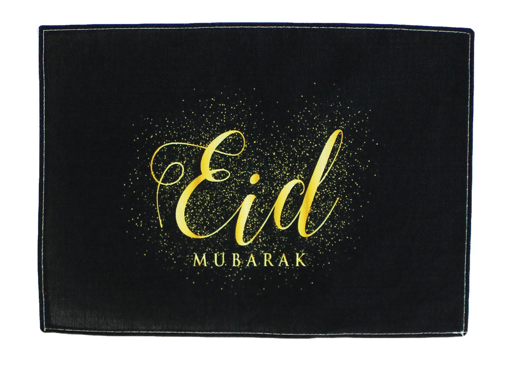 Black and Gold Eid Mubarak Linen Mat