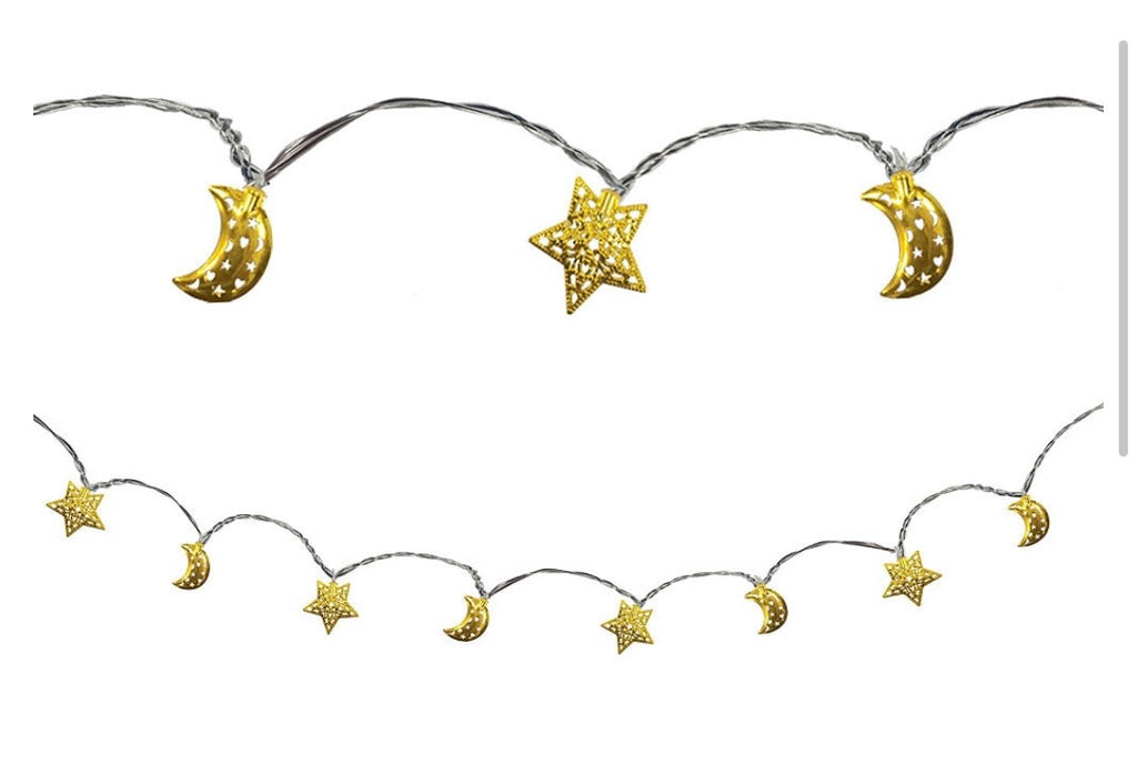 Crescent Moon & Star Eid LED String Lights - Muslim Memories