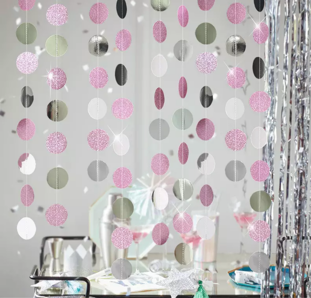 Round Glitter Hanging Garland (Multiple Colors)