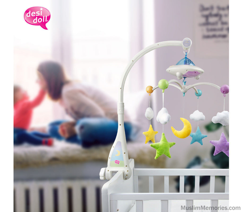 Moon & Star Cot Mobile with Light Projection