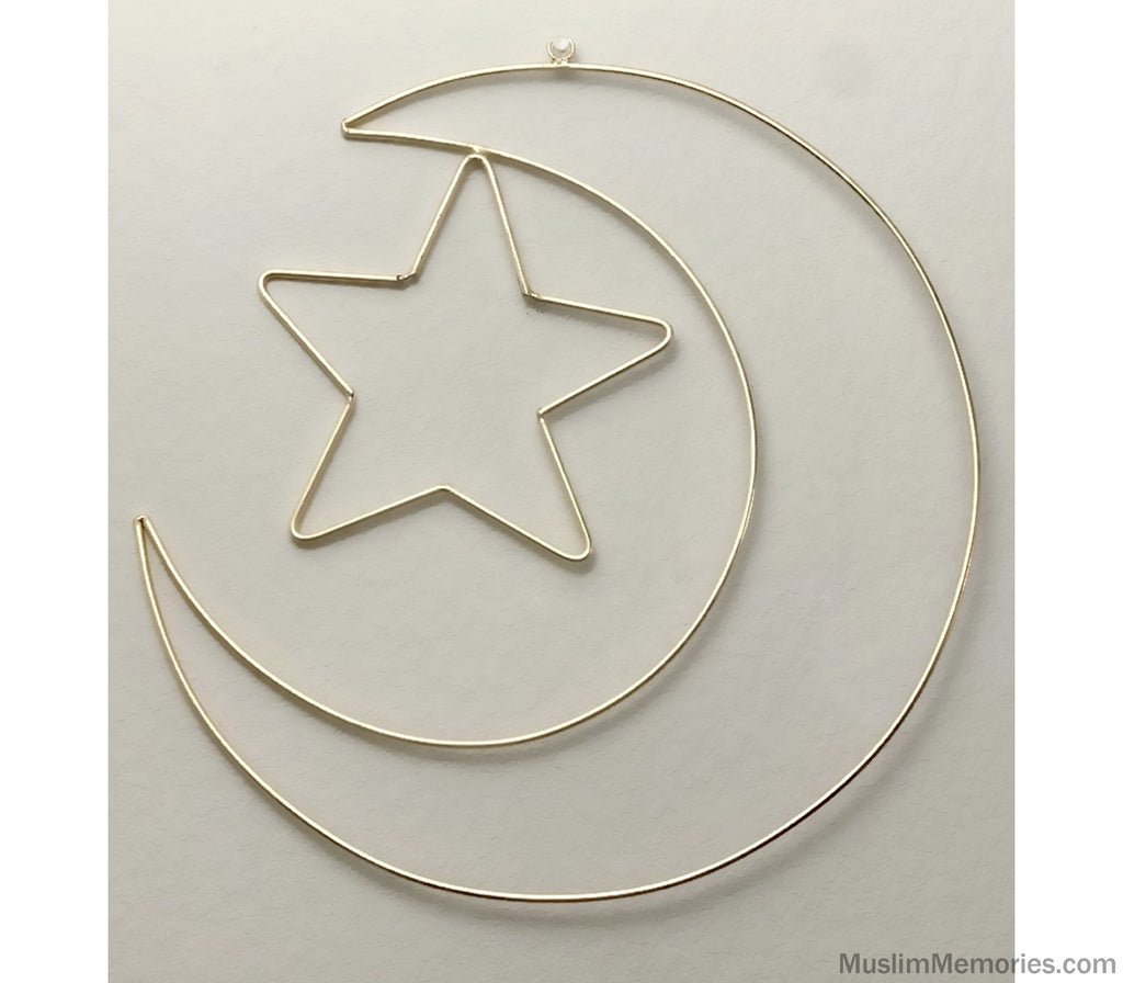 Moon & Star Wire Wall Decor- Gold - Muslim Memories