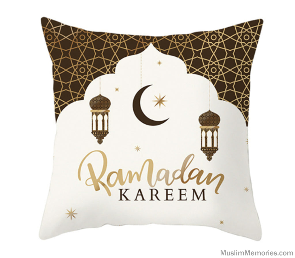Cream w/ Black & Gold Ramadan Kareem Pillow Case