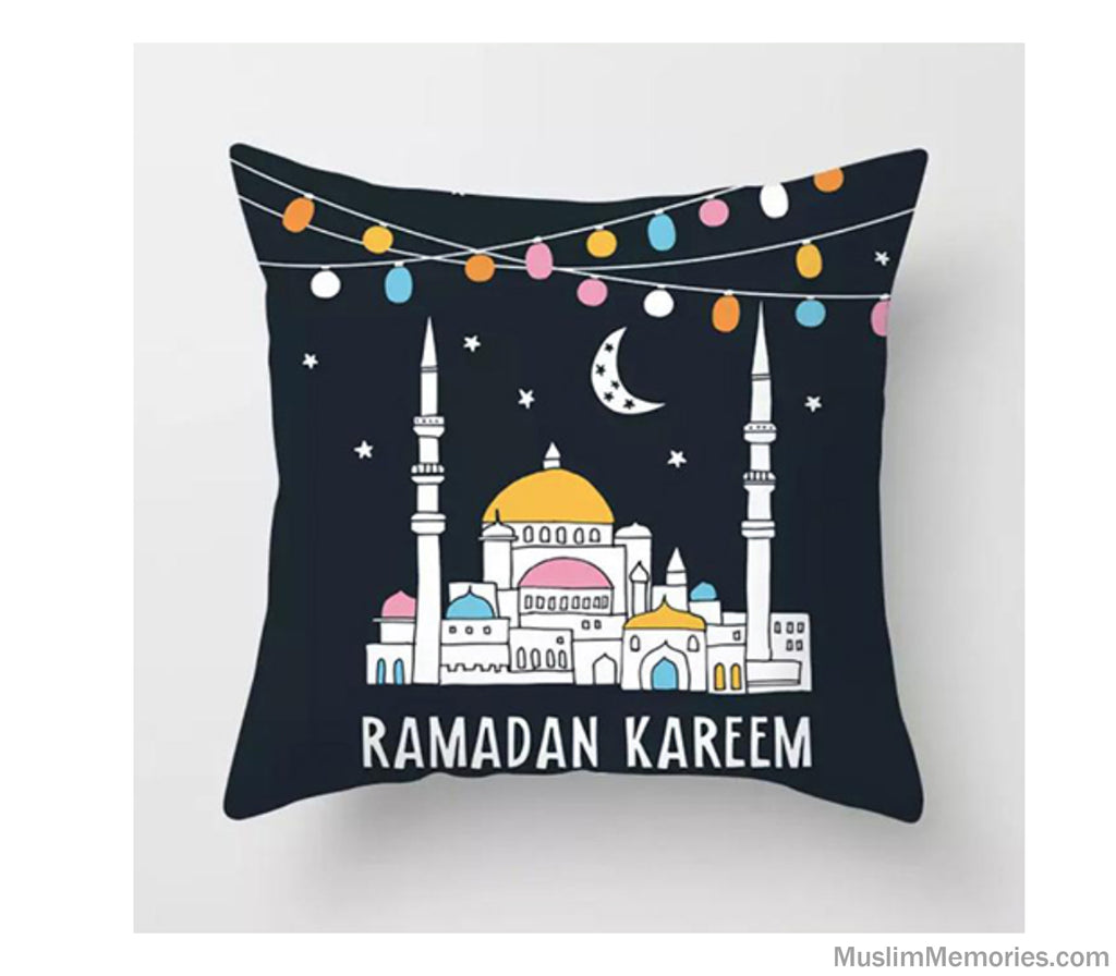 Colorful Mosque Ramadan Kareem Pillow Case
