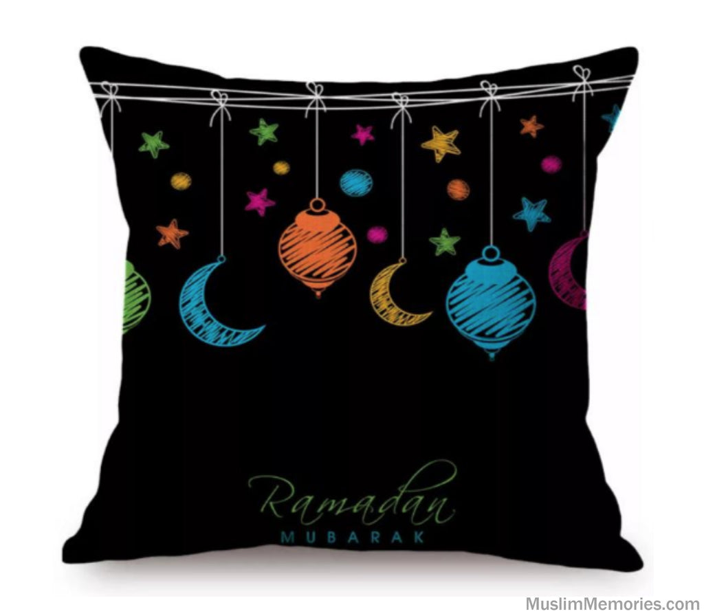 Black w/ Color Ramadan Kareem Pillow Case
