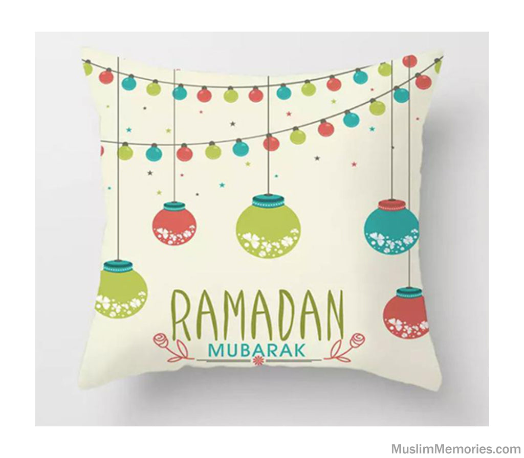 Cream w/ Hanging Lanterns Ramadan Mubarak Pillow Case