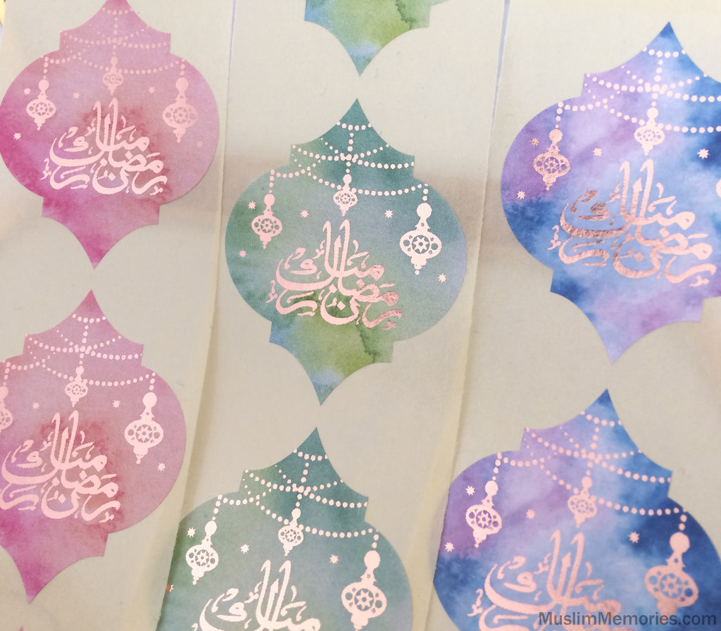 Ramadan Mubarak Quatrefoil Stickers- 24 pieces