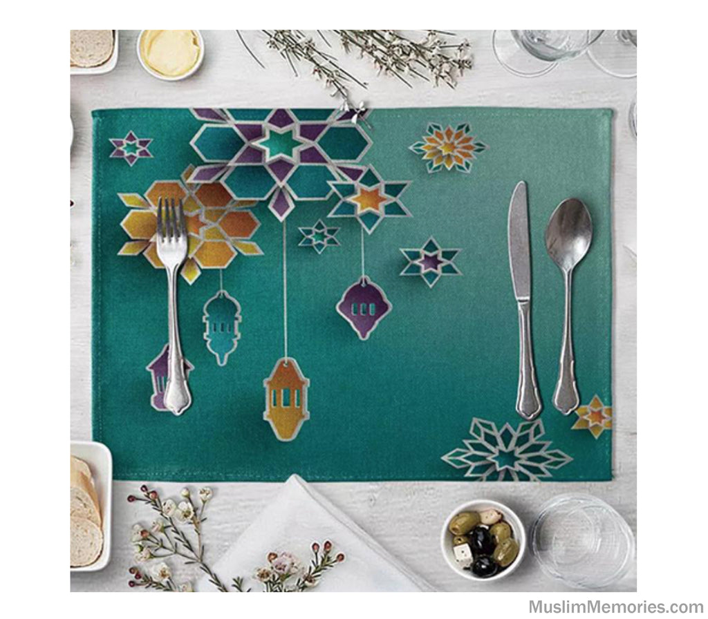 Sea Green Geometric Linen Mat