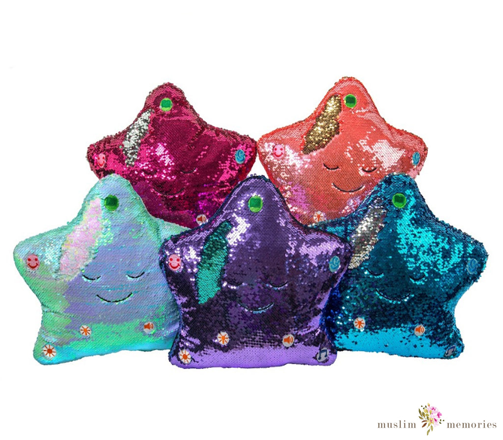 Flippable Sequins My Dua' Pillow – Pink & Silver