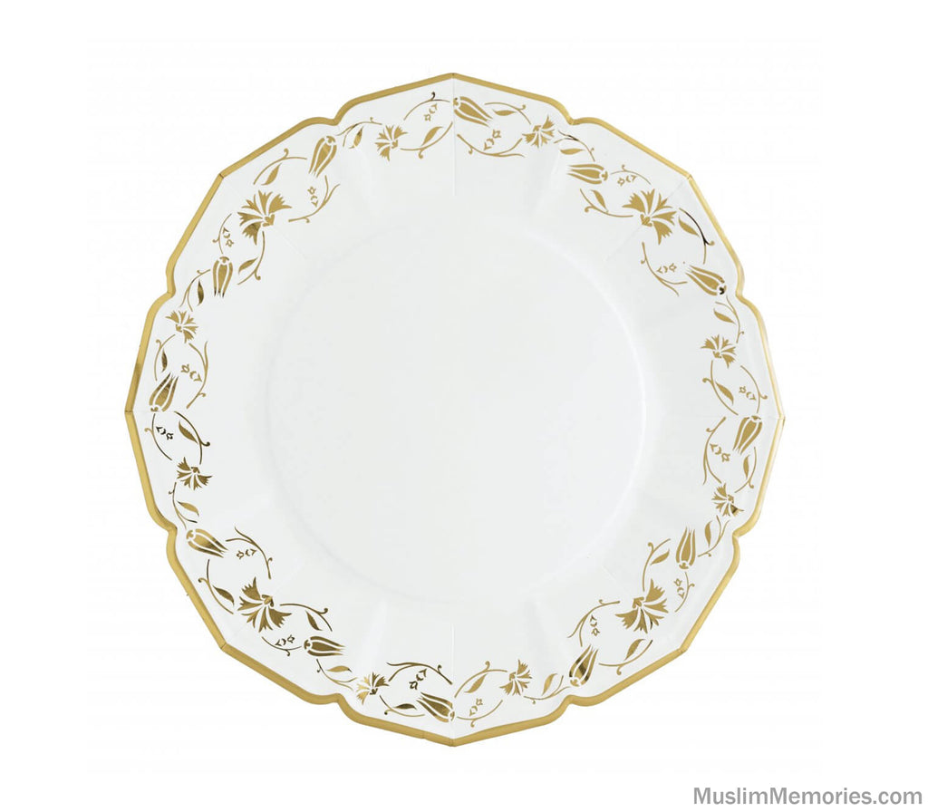 Turkish White Floral Dinner Plates