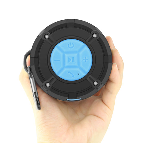 Waterproof Wireless Bluetooth Speaker with Carabiner and Suction Cup