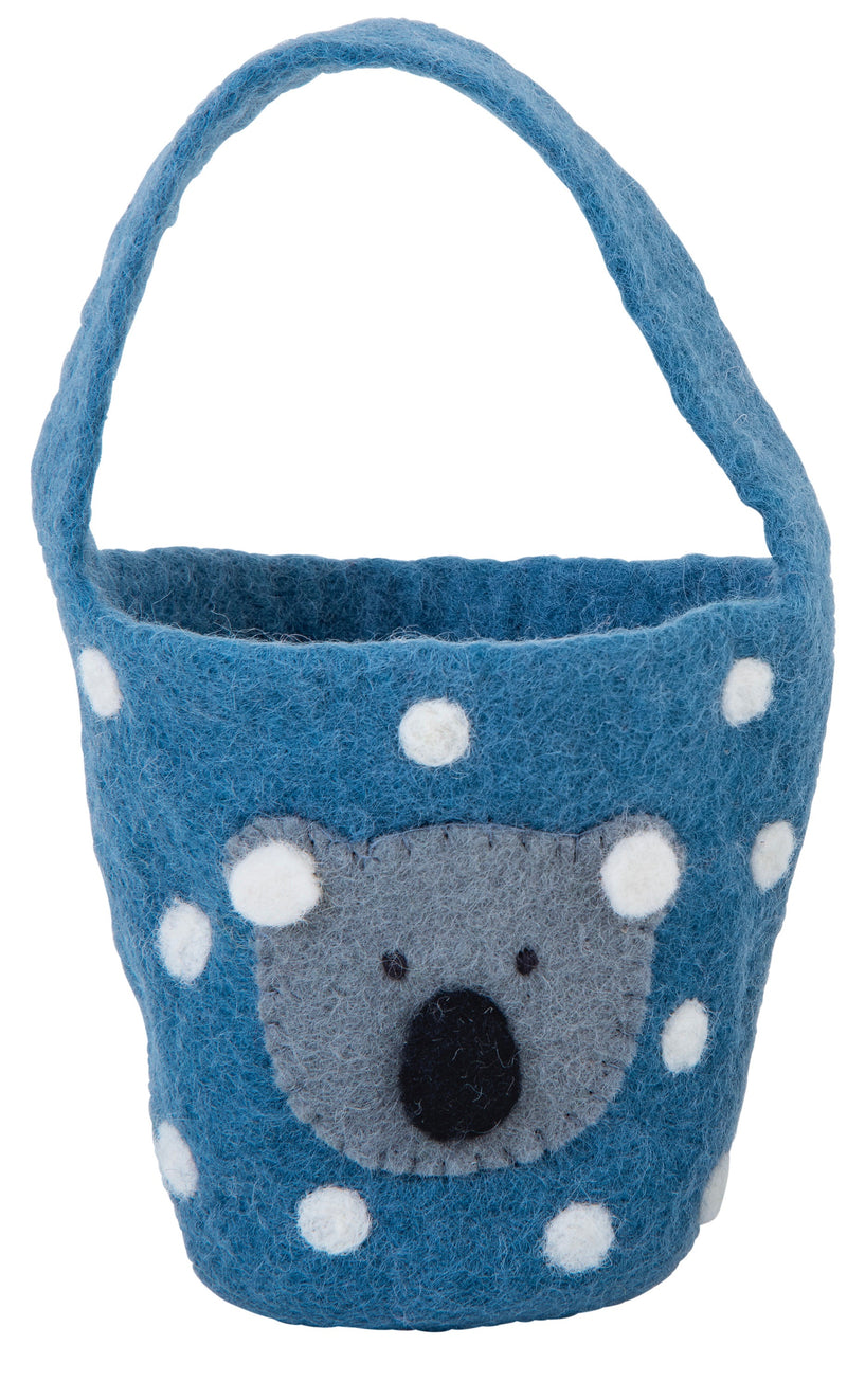 Easter basket with sweet koala face - blue