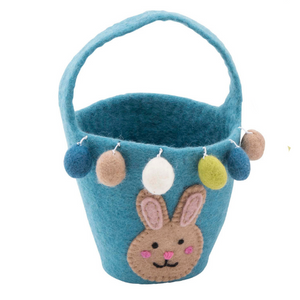Easter Basket with bunny patch face - blue