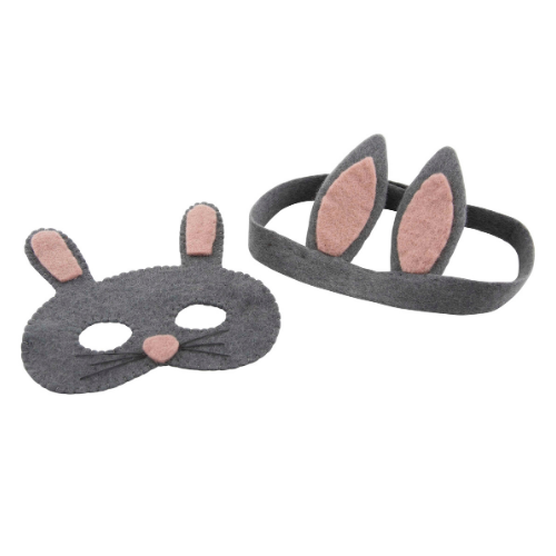 Grey Bunny Mask &  Bunny Ears Headband