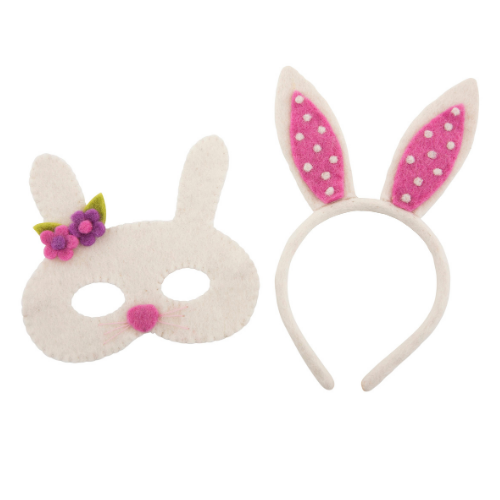 White bunny mask and ears headband set