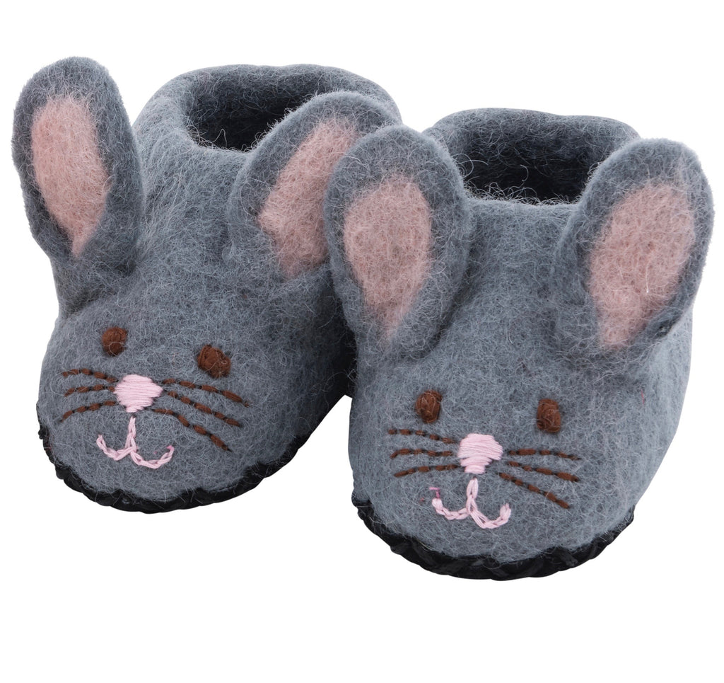 Sweet bunny Slippers Shoes - grey, size 3 & 4