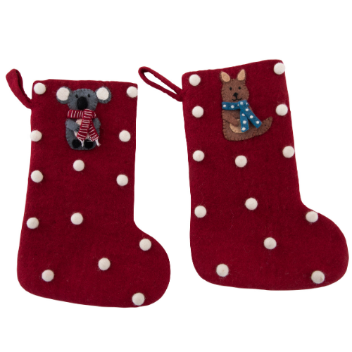 Koala and kangaroo Christmas stocking