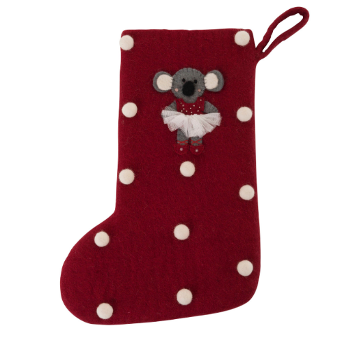 Christmas stocking with sweet Koala ballerina