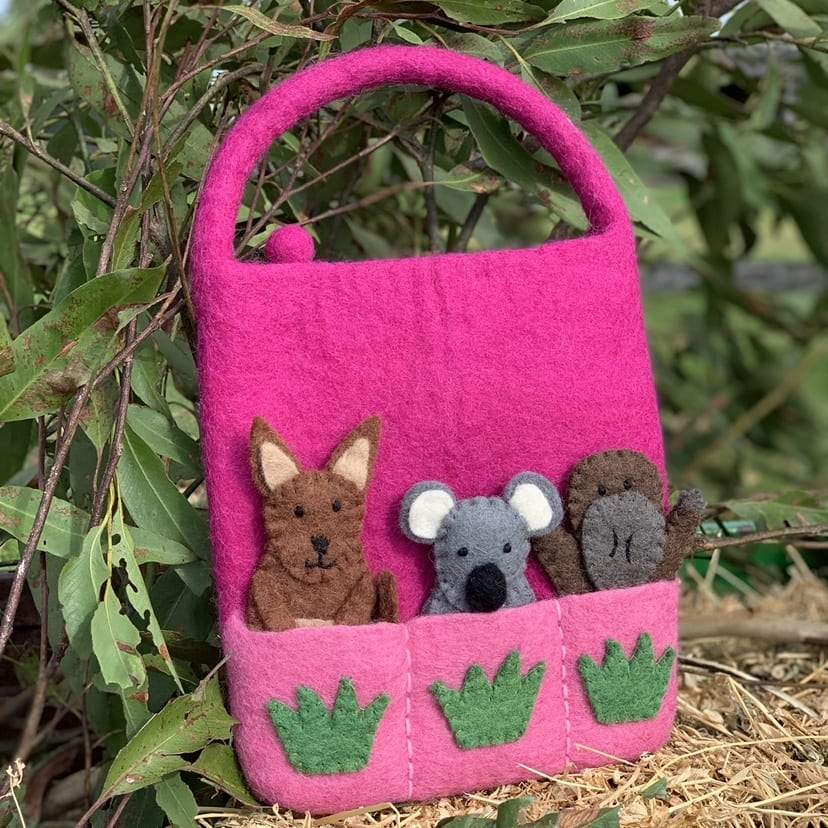 Aussie animal Finger puppet bag