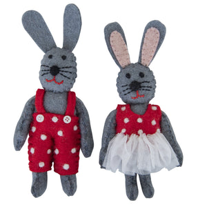 Bunny Toys - Boy & Girl - red outfits