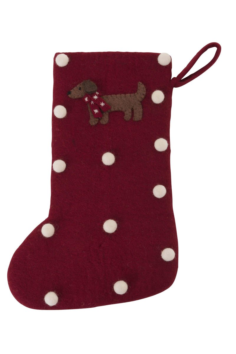 Christmas stocking with dachshund