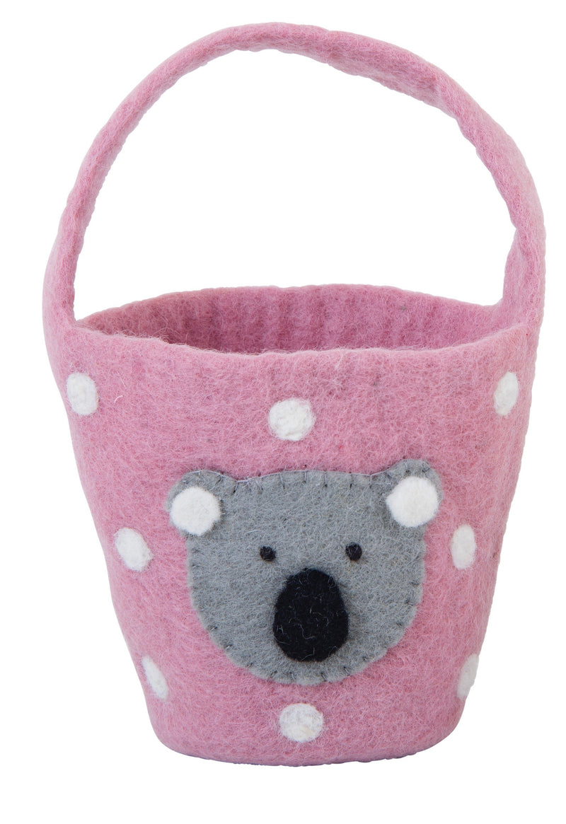 Easter basket with sweet koala face - pink