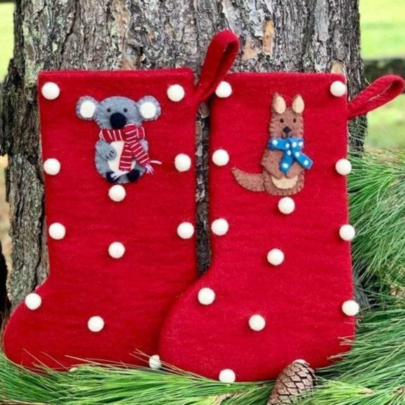 Koala and kangaroo Christmas stocking - Christmas